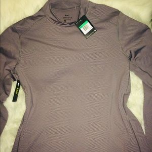 Nike Men's Gray Mock Neck Dri Fit Long Sleeve XL
